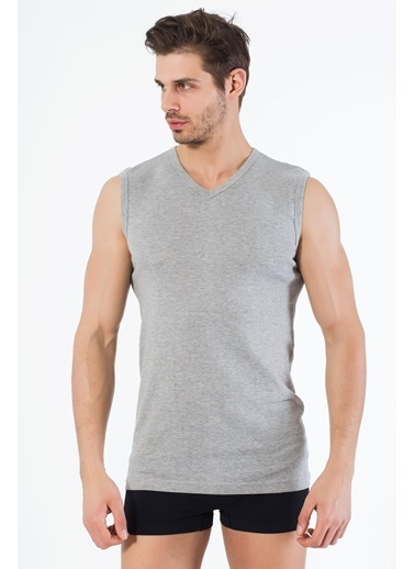 Siyah İnci 2'li Pamuklu V Yaka Kolsuz T-Shirt Gri